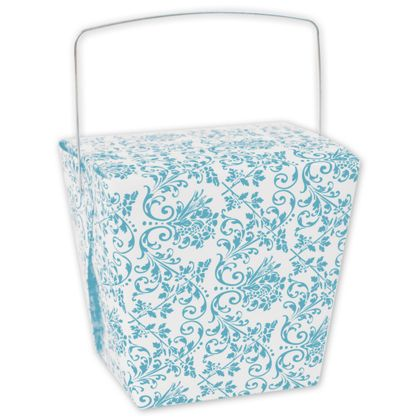 Turquoise Damask Event Boxes, 4 x 3 1/2 x 4""
