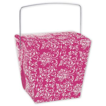 Hot Pink Damask Event Boxes, 4 x 3 1/2 x 4""