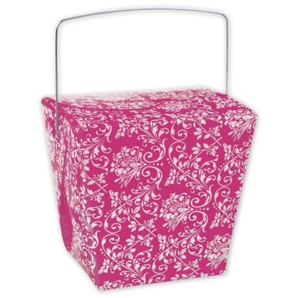 """Hot Pink Damask Event Boxes, 4 x 3 1/2 x 4"""""""
