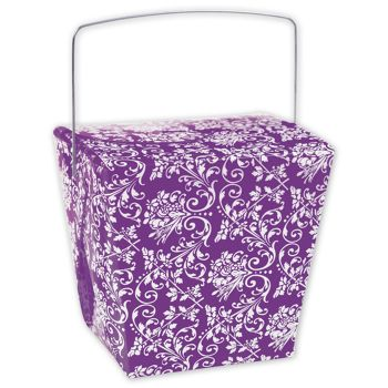 Purple Damask Event Boxes, 4 x 3 1/2 x 4
