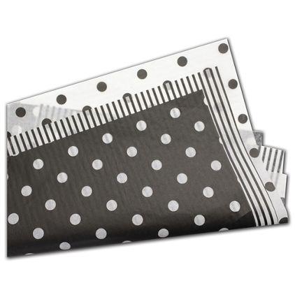 """Black and White Tissue Paper Assortment, 20 x 30"""""""