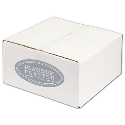White Printed Corrugated Boxes, 1 Color/1 Side, 12x12x6""
