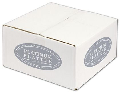 White Printed Corrugated Boxes, 1 Color/2 Sides, 12x12x6""