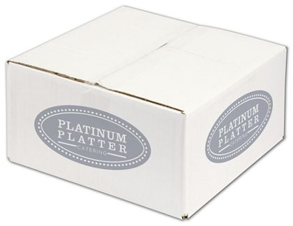 White Printed Corrugated Boxes, 1 Color/4 Sides, 12x12x6""