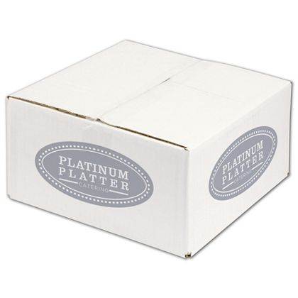 """White Printed Corrugated Boxes, 1 Color/4 Sides, 12x12x6"""""""