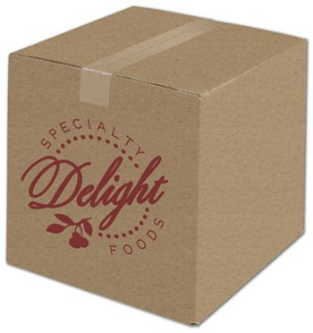 Kraft Printed Corrugated Boxes, 1 Color/1 Side, 12x12x12