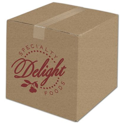 Kraft Printed Corrugated Boxes, 1 Color/1 Side, 12x12x12""