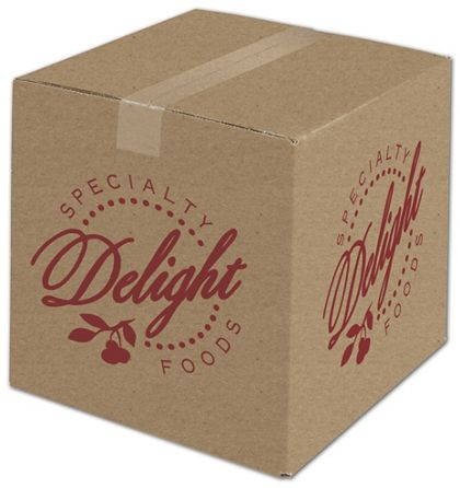 """Kraft Printed Corrugated Boxes, 1 Color/2 Sides, 12x12x12"""""""