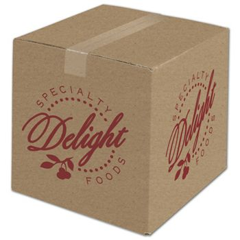 Kraft Printed Corrugated Boxes, 1 Color/4 Sides, 12x12x12
