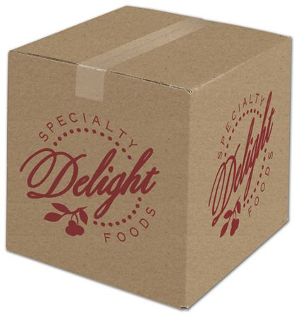 """Kraft Printed Corrugated Boxes, 1 Color/4 Sides, 12x12x12"""""""