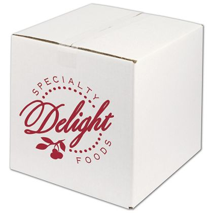 White Printed Corrugated Boxes, 1 Color/1 Side, 12x12x12""