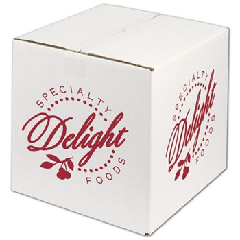 White Printed Corrugated Boxes, 1 Color/2 Sides, 12x12x12