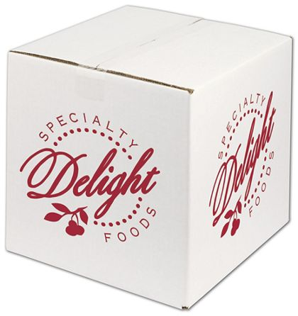 White Printed Corrugated Boxes, 1 Color/2 Sides, 12x12x12""
