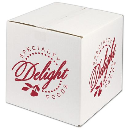 """White Printed Corrugated Boxes, 1 Color/2 Sides, 12x12x12"""""""