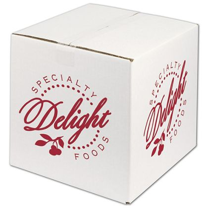 """White Printed Corrugated Boxes, 1 Color/4 Sides, 12x12x12"""""""