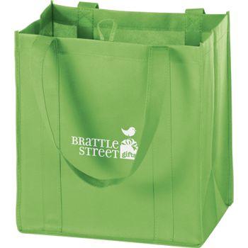 Lime Non-Woven Market Bags, 12 x 8 x 13