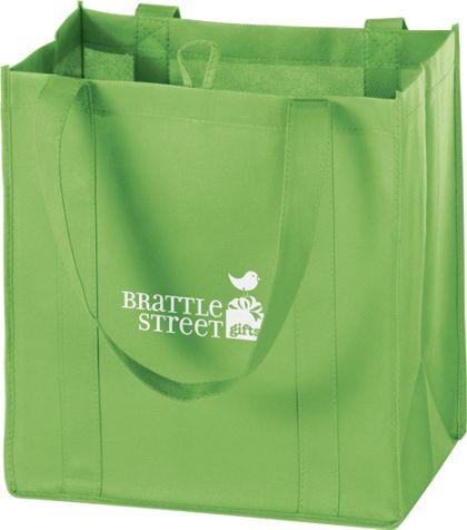 """Lime Non-Woven Market Bags, 12 x 8 x 13"""""""