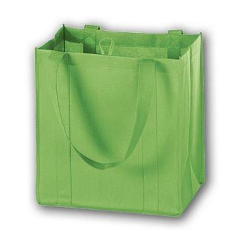 Lime Unprinted Non-Woven Market Bags, 12 x 8 x 13