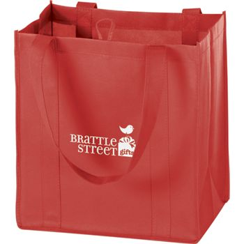 Red Non-Woven Market Bags, 12 x 8 x 13