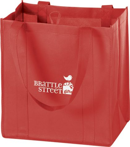 Red Non-Woven Market Bags, 12 x 8 x 13""