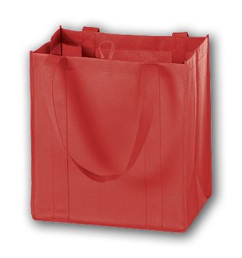Red Unprinted Non-Woven Market Bags, 12 x 8 x 13