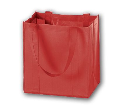 Red Unprinted Non-Woven Market Bags, 12 x 8 x 13""