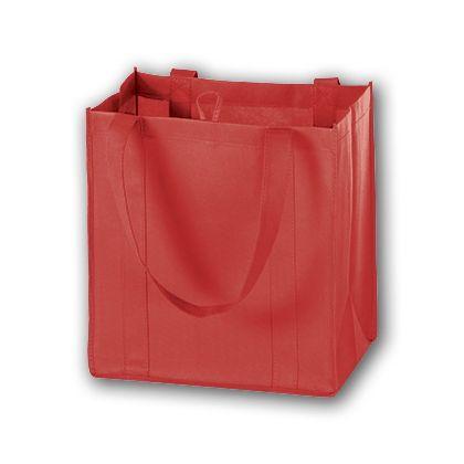 Red Unprinted Non-Woven Market Bags, 12 x 8 x 13