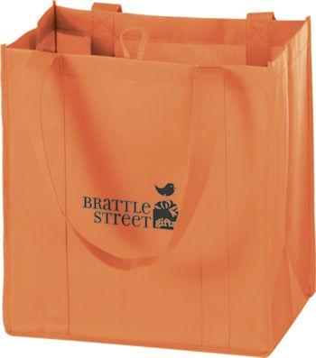 Orange Non-Woven Market Bags, 12 x 8 x 13
