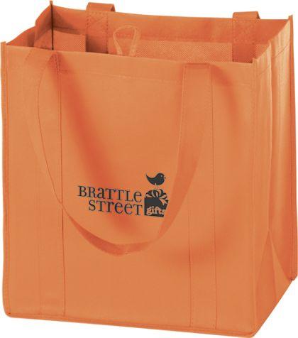 """Orange Non-Woven Market Bags, 12 x 8 x 13"""""""