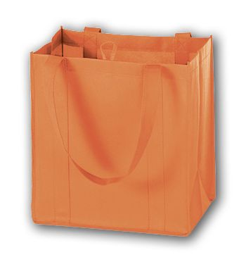 Orange Unprinted Non-Woven Market Bags, 12 x 8 x 13