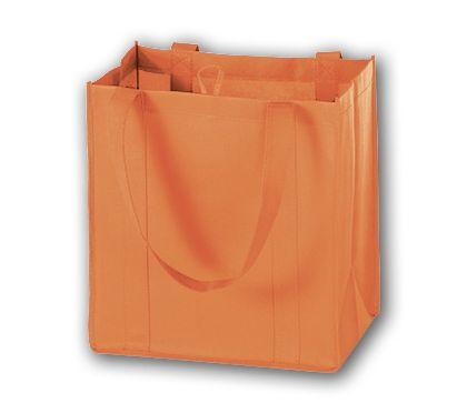 "Orange Unprinted Non-Woven Market Bags, 12 x 8 x 13"""