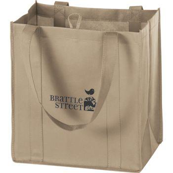 Tan Non-Woven Market Bags, 12 x 8 x 13