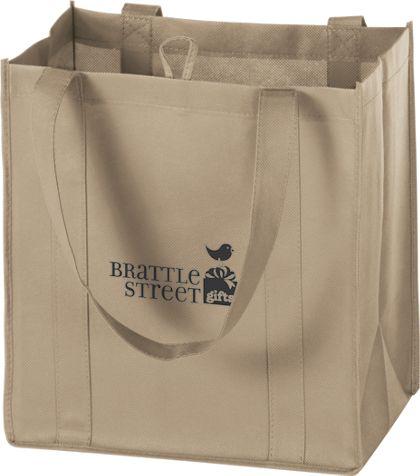 """Tan Non-Woven Market Bags, 12 x 8 x 13"""""""
