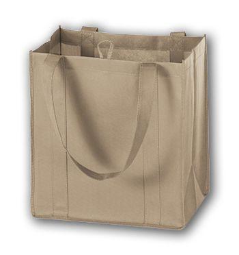 Tan Unprinted Non-Woven Market Bags, 12 x 8 x 13