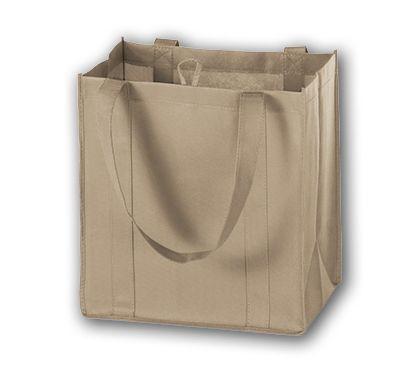 """Tan Unprinted Non-Woven Market Bags, 12 x 8 x 13"""""""