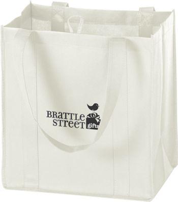 White Non-Woven Market Bags, 12 x 8 x 13