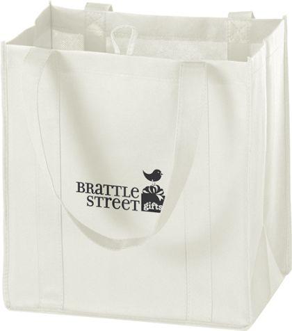 """White Non-Woven Market Bags, 12 x 8 x 13"""""""