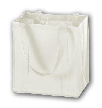 White Unprinted Non-Woven Market Bags, 12 x 8 x 13