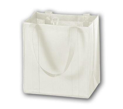 "White Unprinted Non-Woven Market Bags, 12 x 8 x 13"""