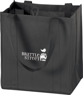 Black Non-Woven Market Bags, 12 x 8 x 13