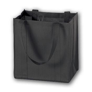 Black Unprinted Non-Woven Market Bags, 12 x 8 x 13