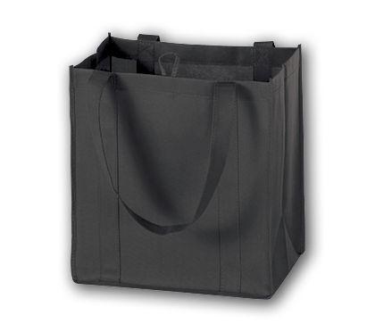 "Black Unprinted Non-Woven Market Bags, 12 x 8 x 13"""