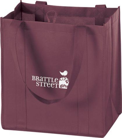 """Burgundy Non-Woven Market Bags, 12 x 8 x 13"""""""