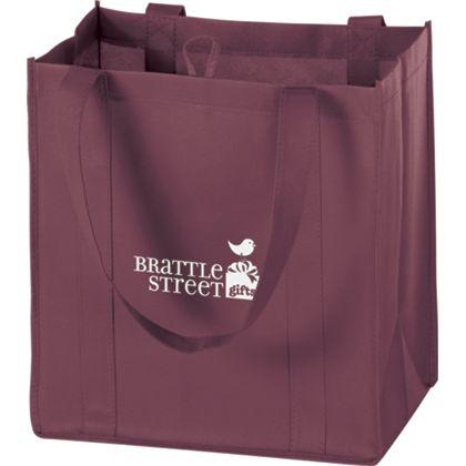 Burgundy Non-Woven Market Bags, 12 x 8 x 13