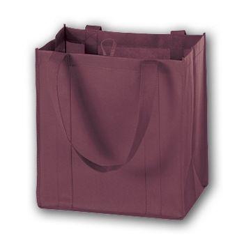 Burgundy Unprinted Non-Woven Market Bags, 12 x 8 x 13