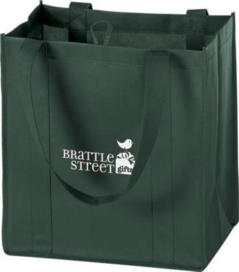 Hunter Green Non-Woven Market Bags, 12 x 8 x 13