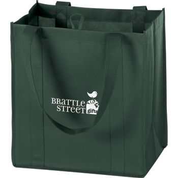 Hunter Green Non-Woven Market Bags, 12 x 8 x 13
