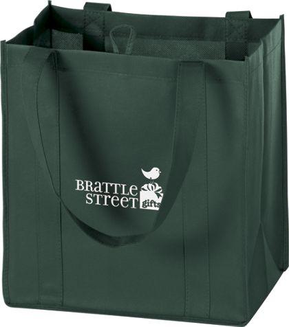 """Hunter Green Non-Woven Market Bags, 12 x 8 x 13"""""""