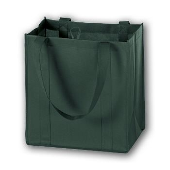 Hunter Green Unprinted Non-Woven Market Bags, 12 x 8 x 13