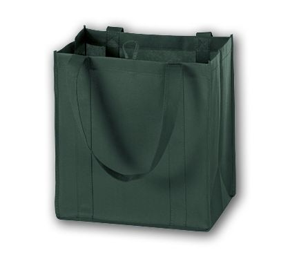"""Hunter Green Unprinted Non-Woven Market Bags, 12 x 8 x 13"""""""